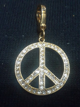 NEW Juicy Couture Pink Enamel Clear Rhinestone Double Sided Peace Sign C... - $20.00