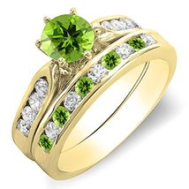 Green Peridot & White Cz Dia. 14K Yellow Gold Plated Bridal Engagement Ring Set - $95.99