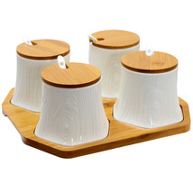 Elama Ceramic Spice, Jam and Salsa Jars with Bamboo Lids and amp; Servin... - £29.60 GBP