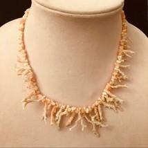 Beautiful Vintage Angel Skin Coral Necklace, Angelskin Branch Coral Neck... - $115.00