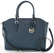Michael Kors Ciara Marineblau Umhängetasche Saffiano-Leder Handtasche - $310.72