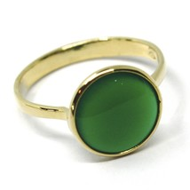 SOLID 18K YELLOW GOLD RING, CABOCHON CENTRAL GREEN CHALCEDONY, DIAMETER 10mm image 1