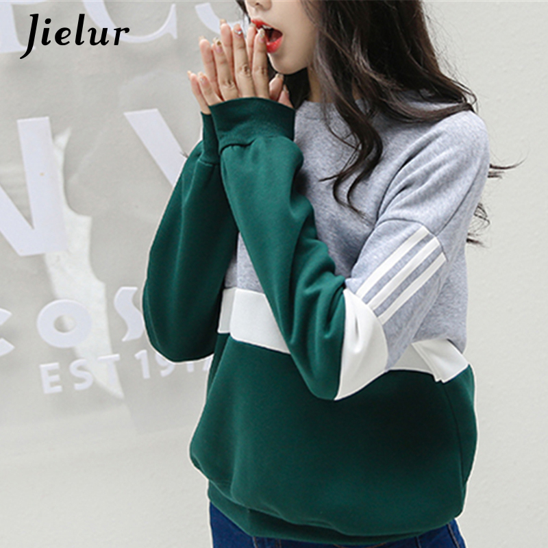 Autumn New Spell Color Stitching Harajuku Women Hoodies Pullover Fleece Loose Fe