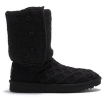 UGG Black Suede Knit Lattice Cardy Mid Boots Size 6 NIB - $143.06