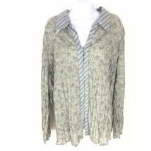 Lane Bryant Mixed Media Button Collar Floral Stripe 22 24 Shirt Top Womens Blue - $19.80