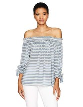 Max Studio Women's Rayon Stripe OFF the Shoulder Shirting with ties Medi... - $22.53