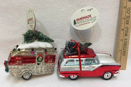 Station Wagon & Camper Glass Ornaments Colorful Christmas Tree on Top Ho... - $24.74