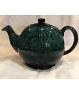 Evangeline Canada #961 Drip Glaze Retro Teapot - Bluish Green and Black - $29.00