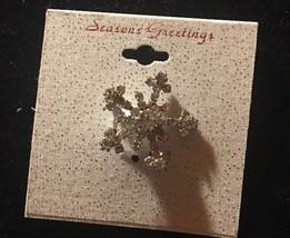 Five Point Rhinestone Snowflake Pin Silver Tone Christmas Holiday Winter - $9.25