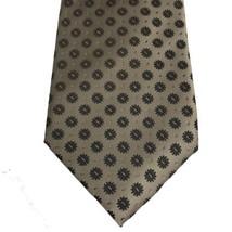 Kenneth Cole Reaction mens tan brown 100% silk geometric neck tie - $8.69