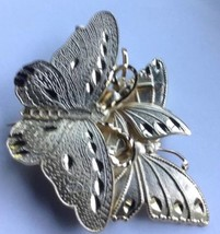 Butterfly Pin Brooch Vintage Gold-tone Pave Unmarked Etched - $8.96