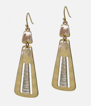 Gold Plated Drop Earrings Center Bar Wrapped in Silver - $7.43