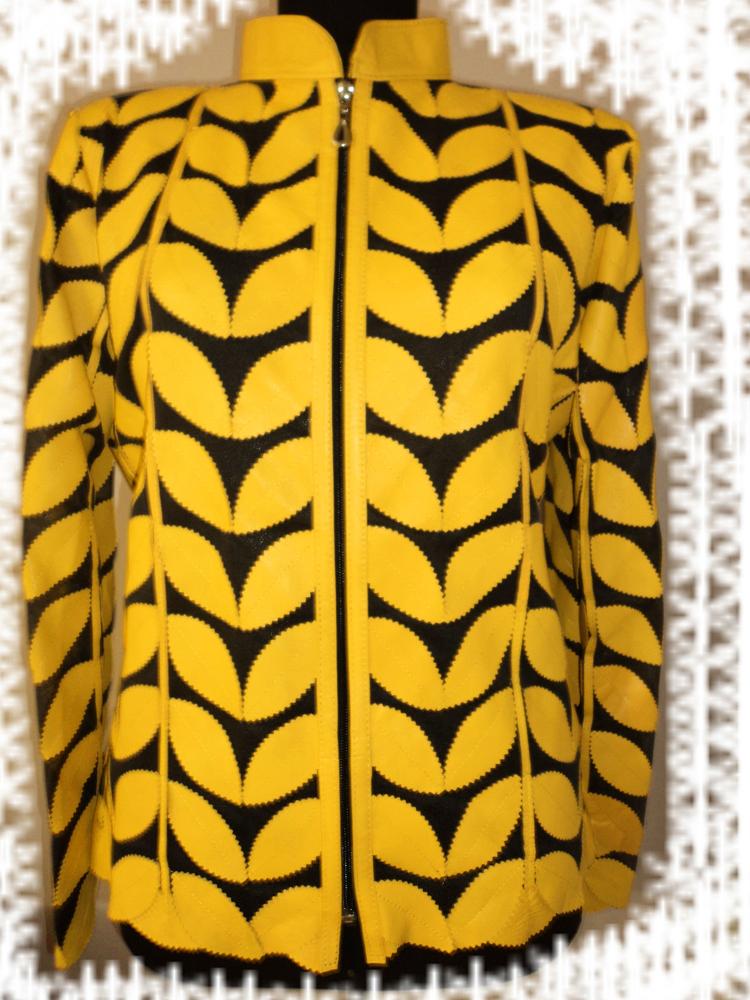 Womens yellow leather leaf jacket xl 1