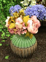 Ceramic Southwestern Contemporary Golden Barrel Cactus Floral Vase Decor... - $24.99