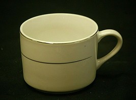 "Tuxedo Platinum Gibson Designs 2-1/2"" Coffee Cup Mug White Platinum Trim Verge - $9.89"