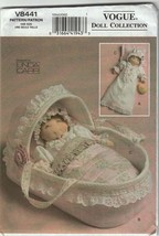 "Vogue 8411 Sewing pattern Accessories for 15"" doll-Dress & bonnet, Moses... - $16.95"