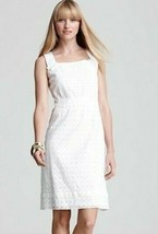 $398 Elie Tahari Brooklyn White Eyelet Sleeveless Dress 12 - $123.25