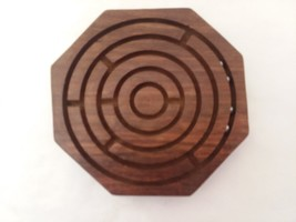 HANDMADE LABYRINTH CIRCLE Wooden Game Brain Teaser Adult MAZE PUZZLE - $18.55