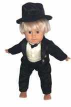 "Boy 15"" Doll Black Tuxedo And Hat - $39.59"