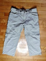Columbia Pants Mens 34X30 Cargo Zip Off Omni Wick Belted Nylon Khaki Hik... - $29.99