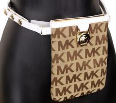 Michael Kors MK Women's Cut Out Leather Canvas Purse Belt Fanny Pack Bag 551501 image 11