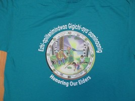 ezhi apiitenimindwaa Honoring our Elders Red Lake Nation T Shirt Size L - $10.99