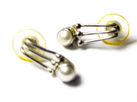 """Beautiful Sterling Silver 3 Bar Pearl Dangle Wire Earrings 6mm 3/4"""" Shop... - $44.54"""
