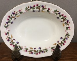 Aynsley Bramble Time Oval Serving Bowl Berries Scalloped Porcelain Engla... - $93.46