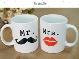 Mr Mustache and Mrs Lips - Cute Matching Coffee Mug Cup Set for Couples (MC027) - $24.99
