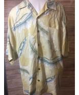 TOMMY BAHAMA Men's Sz L Hawaiian Tropical CAMP SHIRT 100% Silk Green Blue - $19.79