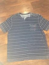 Tommy Bahama Men Blue Short Sleeve Cotton Basic T-shirt Tee With Pocket Large - $23.76