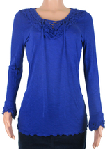 INC Womens Long Sleeve Lace-Up Ruffled Top Rayon Size M XL Goddess Blue ... - $13.99