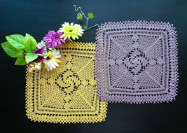 Yellow and Mauve Set of Square Crochet Doilies With Edging/Yellow and Pu... - $28.00