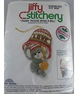 """Vintage Jiffy Stitchery kit Merry Mouse Rings a Bell Ornament 4.5"""" Inclu... - $11.87"""