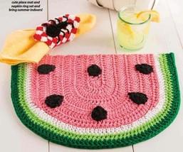 Z487 Crochet PATTERN ONLY Summertime Picnic Set Watermelon Placemat Pattern - $6.45