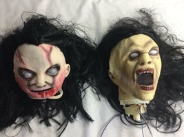 2 Halloween Props Rotting Zombie Heads Scary HEADS Hairy - €41,35 EUR