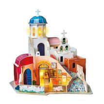 Miniature Wooden Aegean Sea Doll House With Led Light Diy Kids Adult Toy Gifts - $49.99