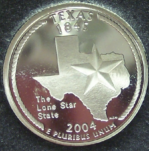 2004-S Silver Proof Texas State Quarter PF65DC #1042
