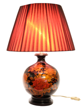 Fine Asianliving Oriental Porcelain Table Lamp Black with Red Flowers Small - $267.54