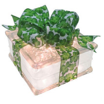 "Lighted Glass Block with 4"" White Border - St. Patrick's Shamrock Ribbon - $34.60"