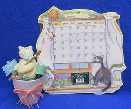Cat Calendar Customizable Magnetic Write in Dates & Kitten Figurine in C... - $15.98
