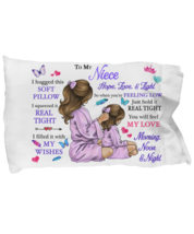 To My Niece Pillowcase Gift From Aunt Auntie Pillow case Covering For Birthday  - $23.99