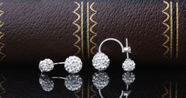 925 Sterling Silver Shamballa earring CZ Cubic Zirconium clear crystal DLE87 image 2