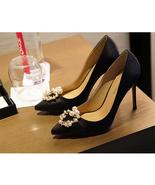 91H001 Romantic lady's high heeled pump w rhinestone & pearl,size 3-9, b... - $72.80