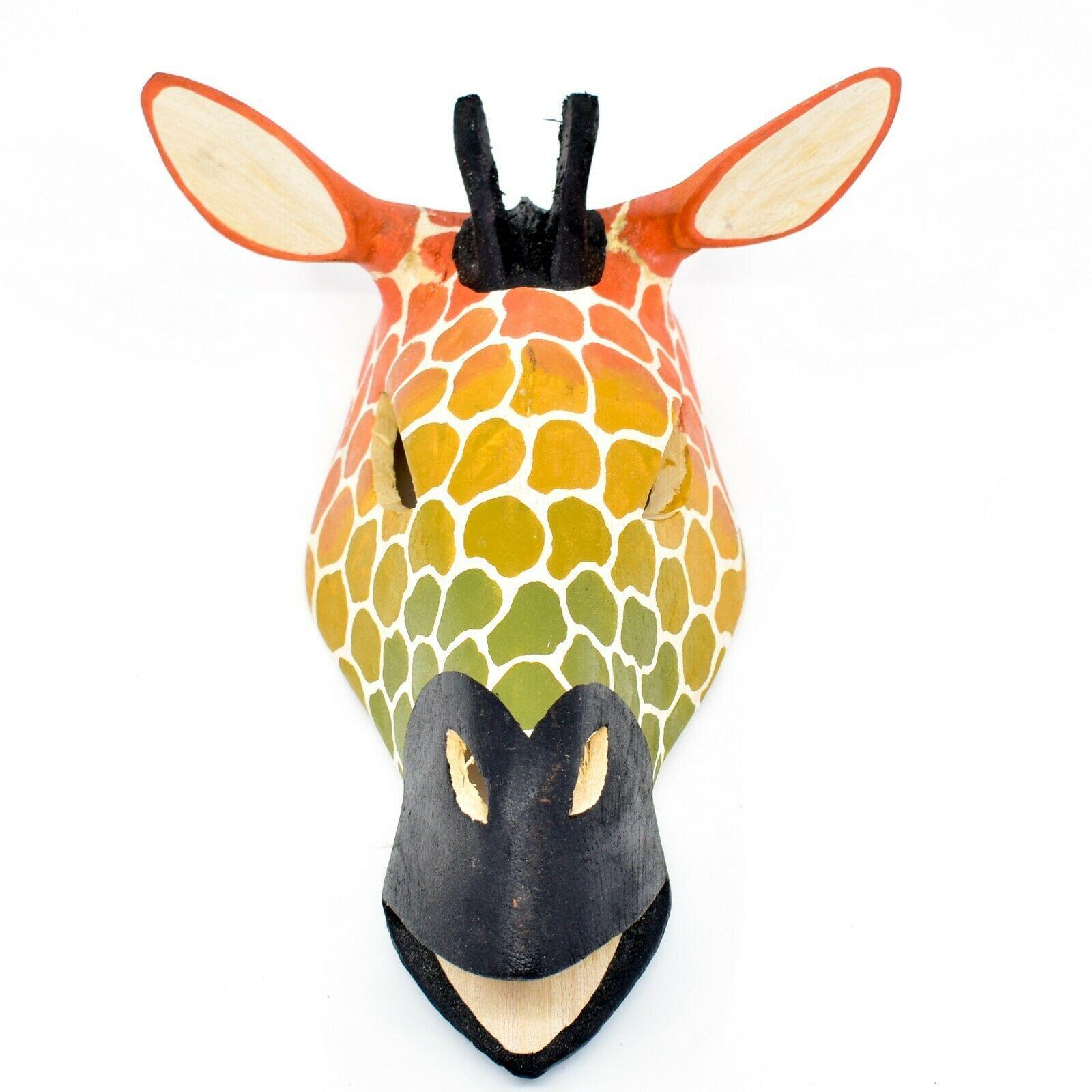 "Hand Carved & Painted ""Kenyan Sunset"" Jacaranda Wood Giraffe Mask Wall Decor"