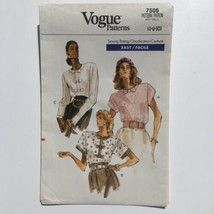 Vogue 7506 Pullover Blouse with Front Bow Details 6-10Uncut Pattern FF V... - $7.80