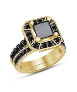 Wedding Ring Set For Her Princess Cut Diamond Yellow Gold Fn 925 Sterlin... - $92.85