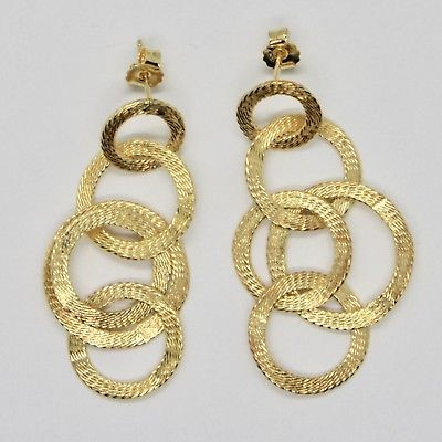 DROP EARRINGS 925 SILVER LAMINA GOLD CIRCLES BY MARY JANE IELPO MADE IN ITALY