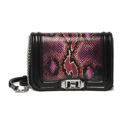Primary image for Rebecca Minkoff Pink Python Black Crackle Leather Small Love Crossbody Bag NWT
