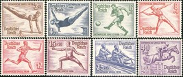 1936 Olympics Set of 8 Germany Postage Stamps Catalog Number B82-89 MNH